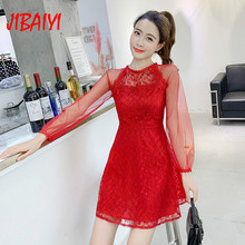 a307243b76e82 Buy lace mesh dress transparent red and get free shipping on ...