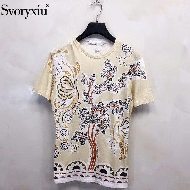 Svoryxiu Designer été 100% coton t-shirts femmes Vintage motif impression décontracté manches courtes t-shirts hauts femme