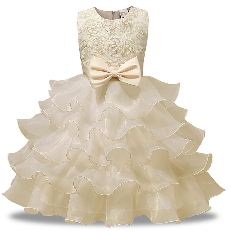 Pretty BLayered dress Baby Girl Wedding Dress Birthday Party Princess Girls 1- 8Y Newborn Christening Gowns 2019