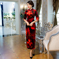 Shanghai Story Top Quality short sleeve national trend Long chinese dress Velvet cheongsam Red Qipao chinese traditional dress