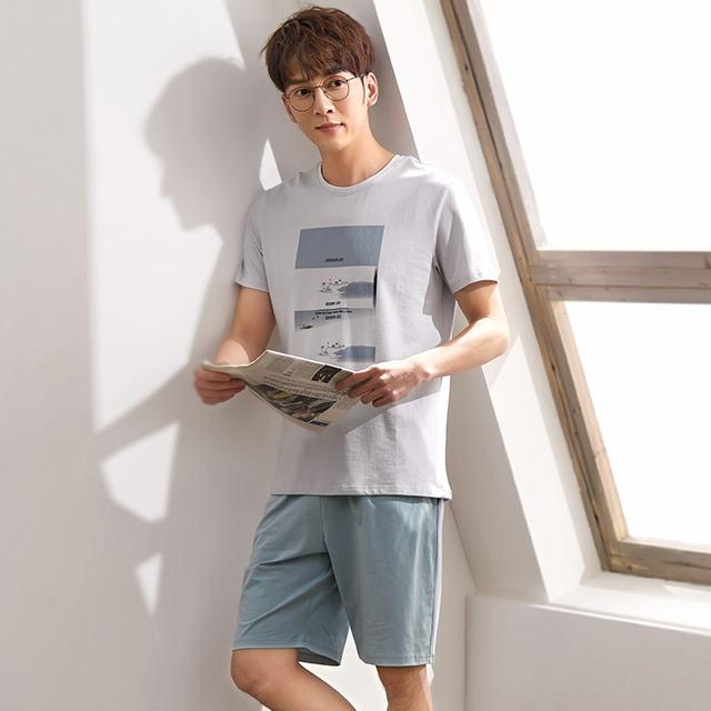 Plus Size 100kg 100% cotton short-sleeve pyjamas men summer home Simple casual mens Sleepwear pijamas pajamas sets for male 3XL