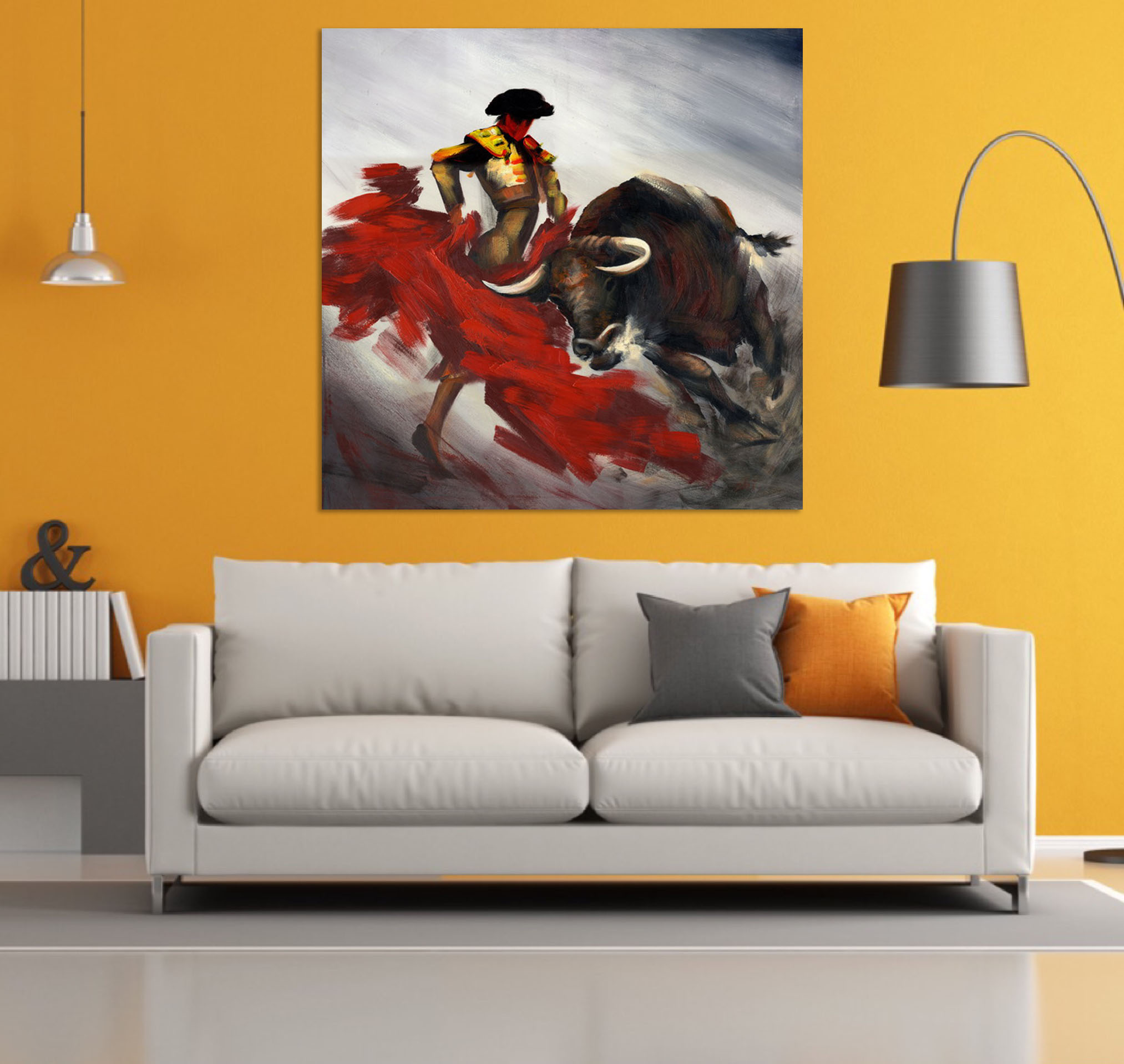Bullfighting Animal Handpainted Oil Painting Home Wall Art Decor Large Modern Wall Painting On Canvas For Living Room