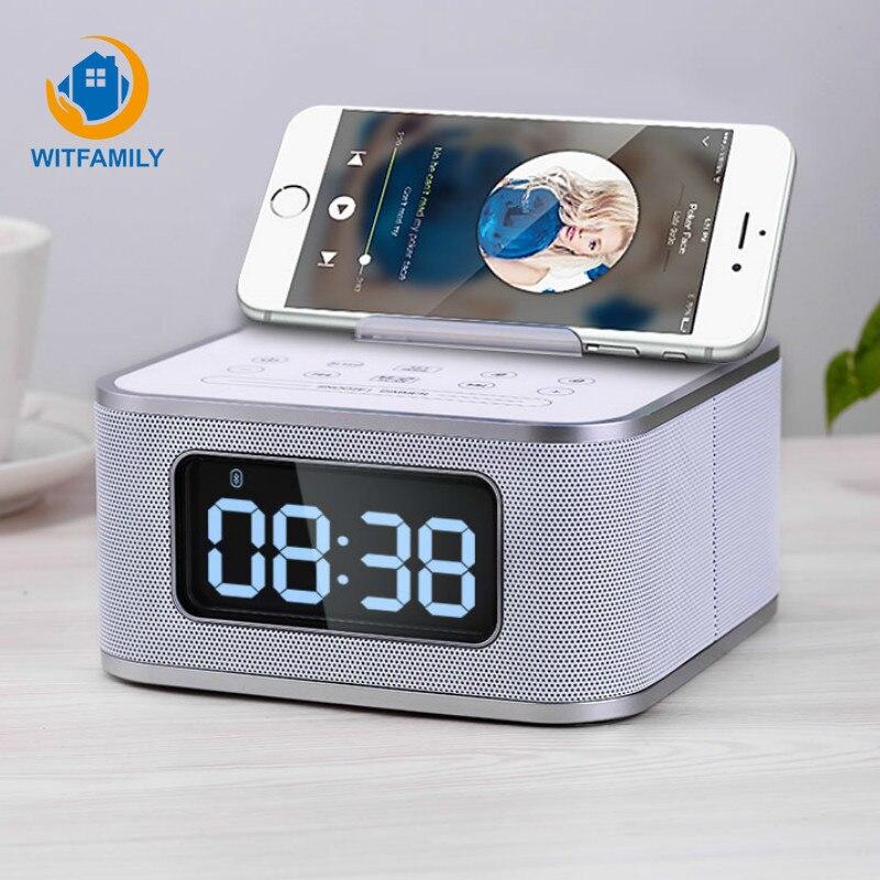 Metall Drahtlose Bluetooth Wecker Digital FM Radio LCD Subwoofer despertador Stimme Anrufe Moderne elektronische uhr tisch Home - 2