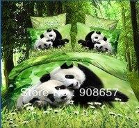 Yeşil siyah panda baskılı Ekonomik 3D yağlıboya kızlar yatak yorgan yorgan yorgan çarşaf bir çanta içinde yatak seti kapakları giysi