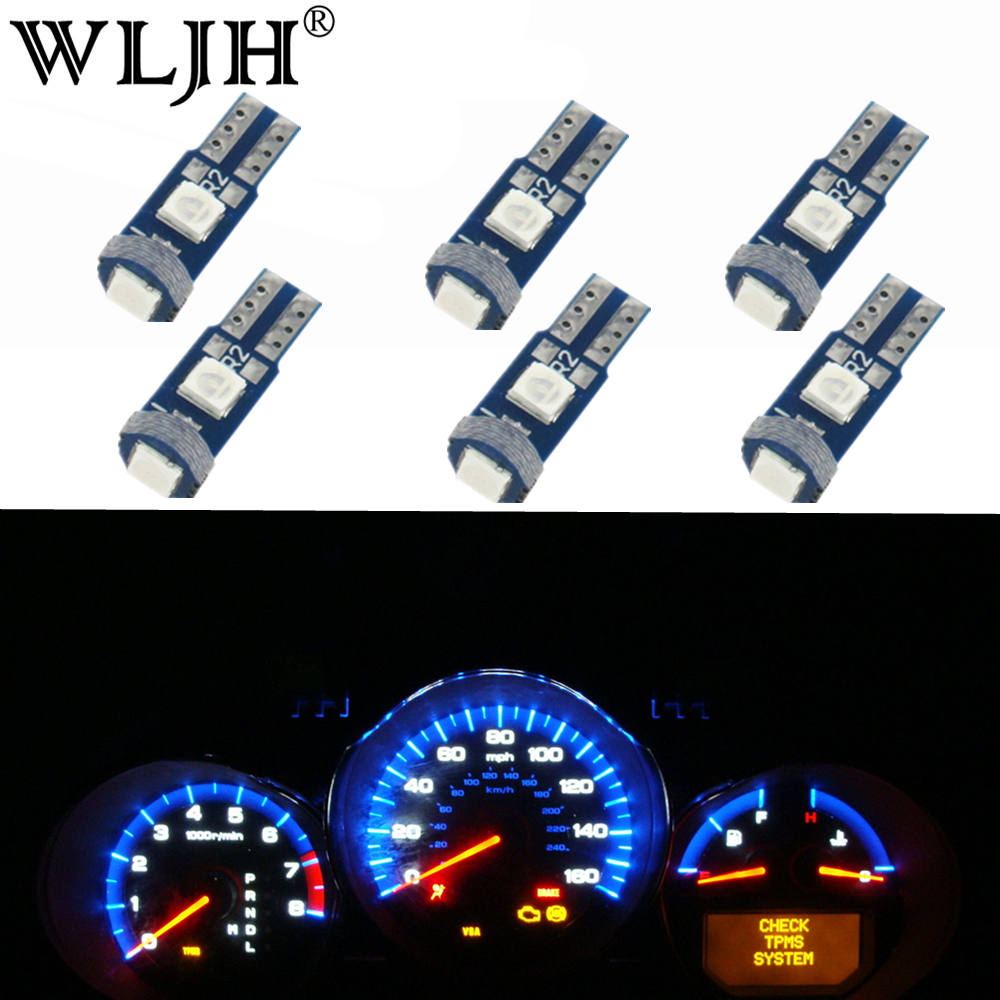 WLJH 6x Canbus T5 <font><b>LED</b></font> 3030 SMD 74 Lamp Car Dash Instrument Panel Light Bulb for <font><b>BMW</b></font> E30 E32 E34 <font><b>E36</b></font> E21 E28 E12 E38 E31 E83 image