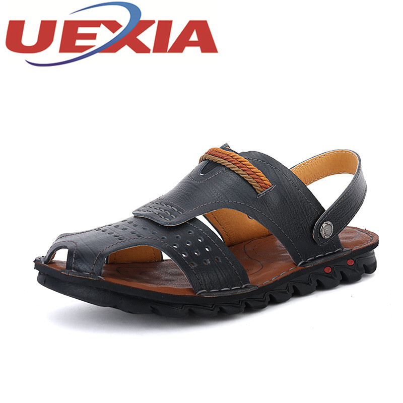 New Arrivals Mens Casual Beach Sandals Shoes Summer Outdoor Fashion Pu Leather Slippers For Men Breathable Sandalias Hombre