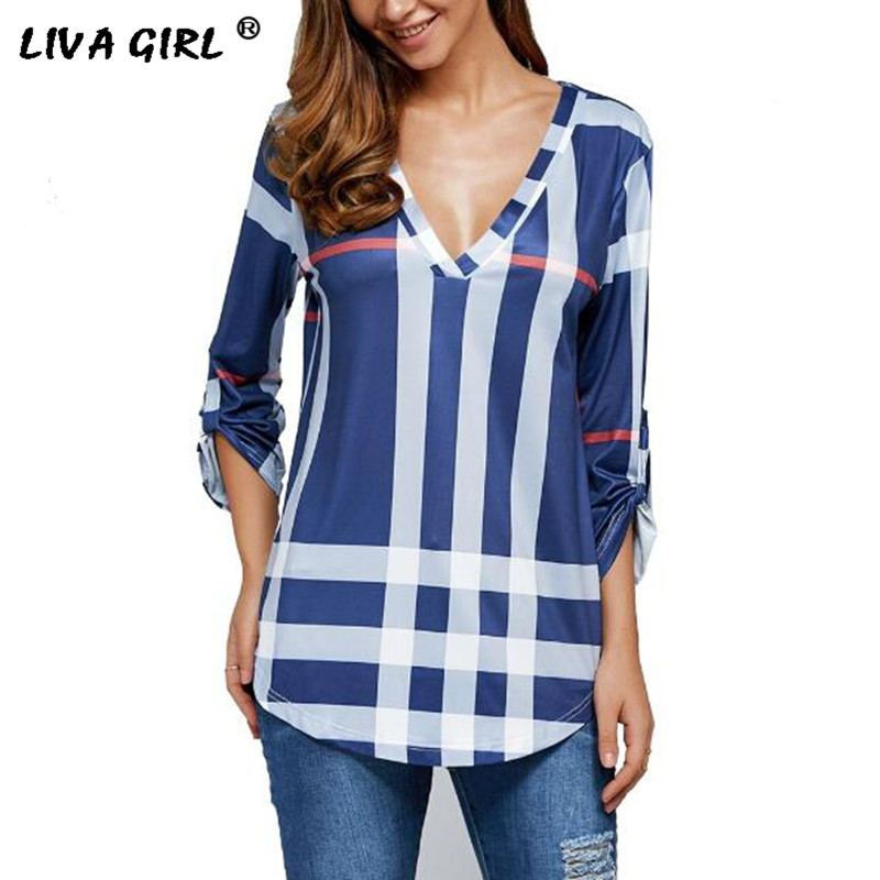 Plus Size 5XL Womens Blouse New 2017 Summer 3 4 Sleeve V Neck Casual Plaid Shirts