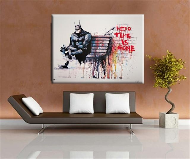 Huge Wall Art aliexpress : buy banksy hero time is gone canvas art print
