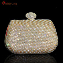 Free Shipping Women Gold/ Silver Diamond Evening Bags Fashion Luxury Full Diamond Wedding Small Clutch Party Handbags Crossbody