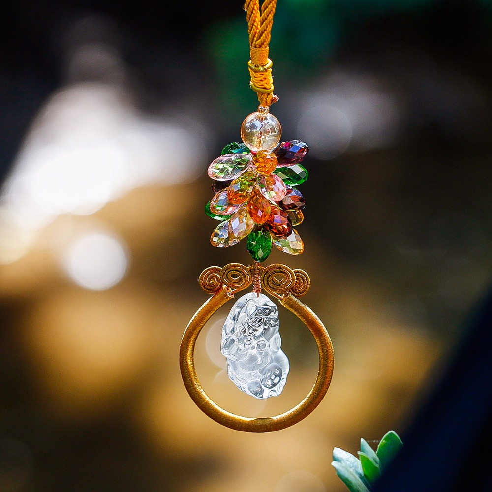 rear item four wind car blessing chimes leaf view hanging luxury lucky pendant h in rearview mirror decor crystal ornament pendants red clover d
