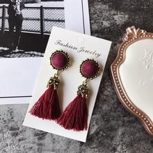 ФОТО Popular Vintage style tassel Drop earrings for women girls  retro texture thread tassels  jewelry drop earrings