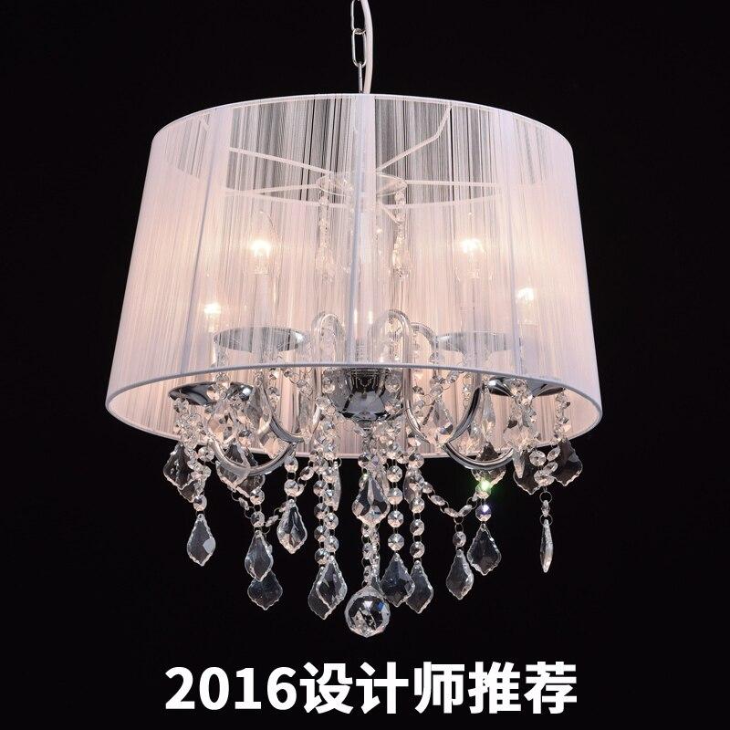 Işıklar ve Aydınlatma'ten Kolye ışıkları'de Avrupa tarzı beyaz kumaş gölge LED Modern K9 kristal avizeler E14 Lustres De Cristal avize