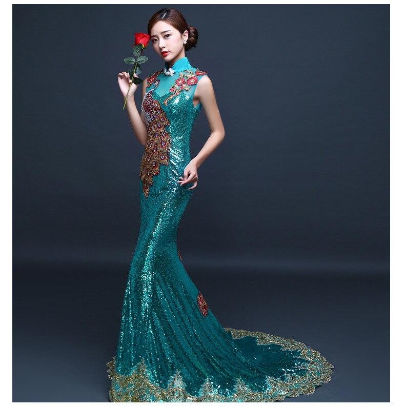 Broderie Cheongsam longue robe de soirée orientale chinoise élégante robes de princesse rouge Qipao mariage d'été femmes Sexy fleurs