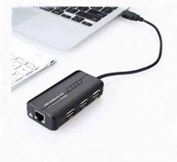 High Speed 3 Ports USB HUB 2.0 USB Splitter Adapter 100Mbps network card for Notebook/Tablet Computer PC Peripherals