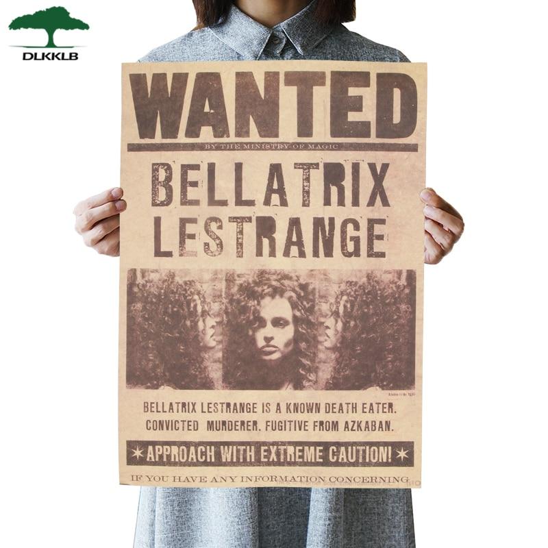 DLKKLB Movie Famous Movie Potter Wanted Bellatrix Lestrange Wanted Retro Kraft Poster Bar Cafe Decorative Paintings Wall Sticker