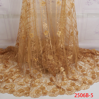 Luxury Net Laces Netting Champagne Fabric Embroidered Beaded Lace Nigerian Wedding Lace Fabric QF2506B 5