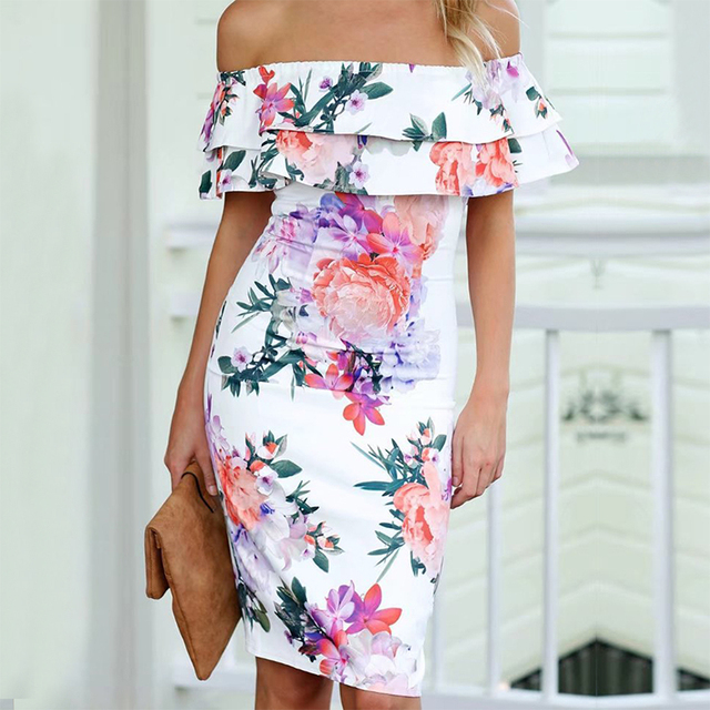 AIEnny Summer Sexy Off Shoulder Womens Chiffon Casual Beach Dress Female Knee Length