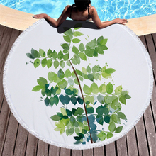 Ariel Sarah Hot Round Beach Towel Green Leaf Beach Towel with Tassels Microfiber Picnic Blanket Mat Tapestry 2019