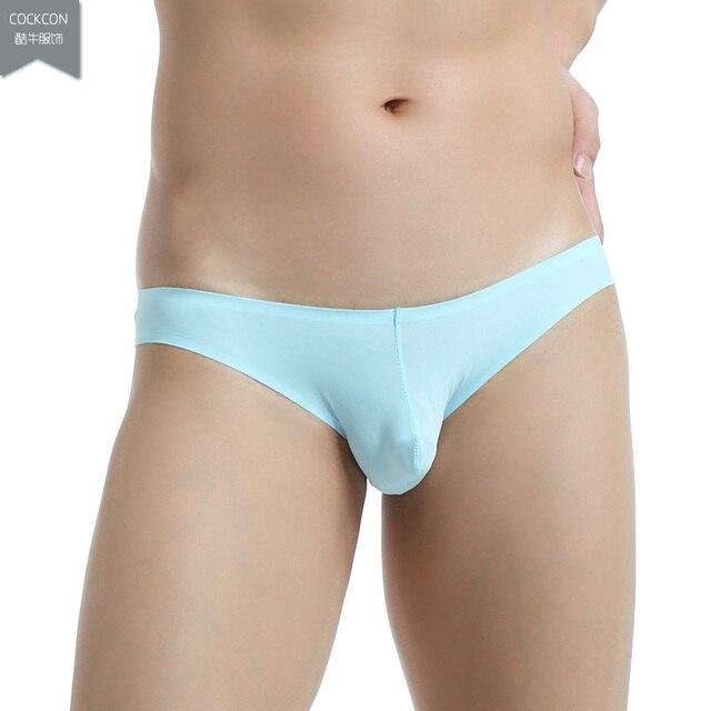 4 unids/lote nuevo tipo a bragas sin costura para hombres triangular de cintura baja bragas ultrafinas transpirables ropa interior viscosa 7 colores