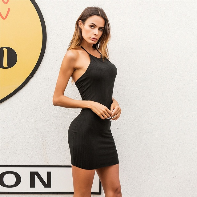 Women Sexy Club Backless Spaghetti Strap Summer Dress 2018 Cotton Ladies Elastic Bodycon Black Yellow Party Mini Dresses Vestido 3