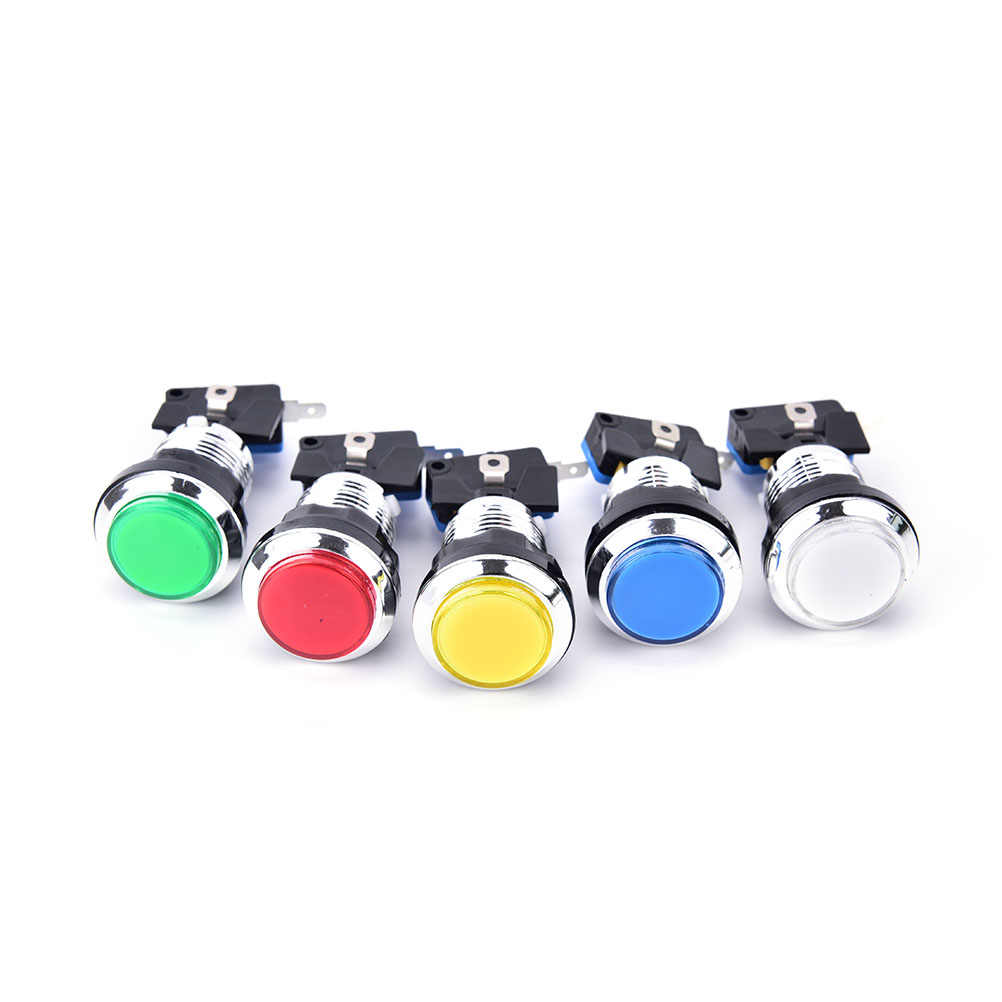 Hot Sale 1PCS Chrome Plated illuminated 12v LED Arcade Push Button with microswitch 5 Colors