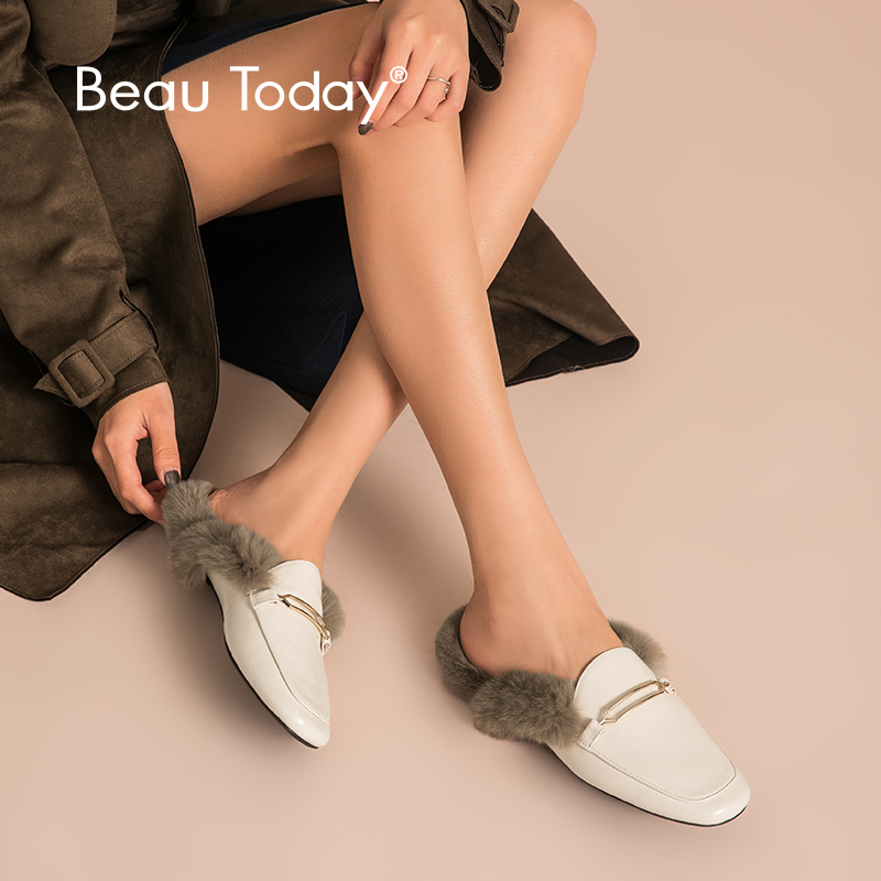 BeauToday Mules Women Sheepskin Genuine Leather Mental Buckle Decorated Autumn Winter Rabbit Hair Ladies Flats Handmade