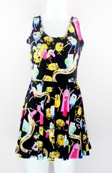 VI модные X-208 новинка летнее платье Для женщин из мультфильма «Время приключений» платье с принтом Для женщин платье с коротким и широким подолом - Цвет: X208