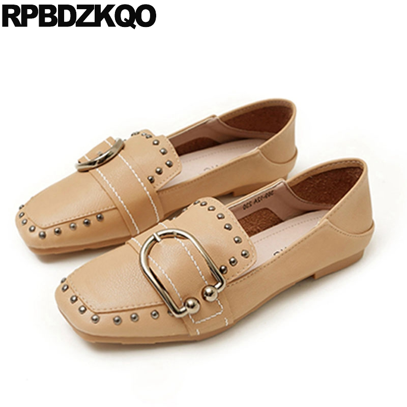 5493051d57 Rivet Stud Retro Loafers Square Toe Slides Designer Shoes China Slippers Women  2018 Nude Mules British Style Flats Metal Cheap
