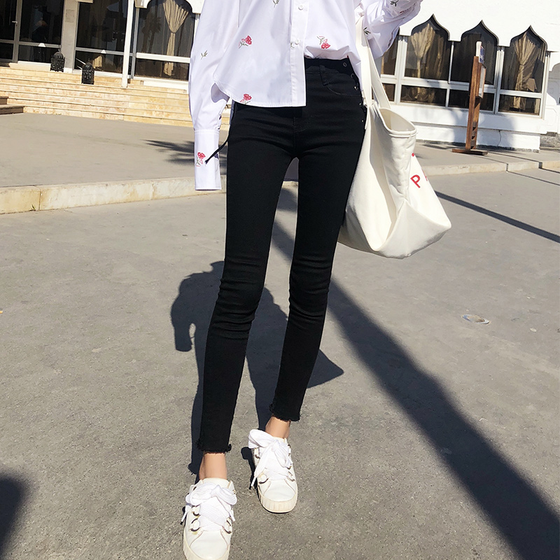 Mishow female Pencil Pants 2019 Women black   Jeans   High Waist   Jeans   washed denim skinny ladies trousers MX18C2542
