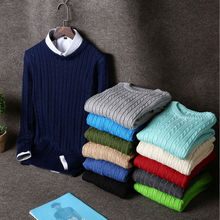 Hot sale 2016 men cotton O-neck sweater British retro men 's sweater Casual men's clothing 12 colors M L XL free shipping