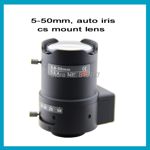 Free shipping 5-50mm CCTV camera lens F1.4 1/3, auto iris manual zoom lens, vga cctv cs mount lens free shipping 6 pcs 1 3 f1 6 cs fixed iris 16mm ir lens cctv camera professional lens