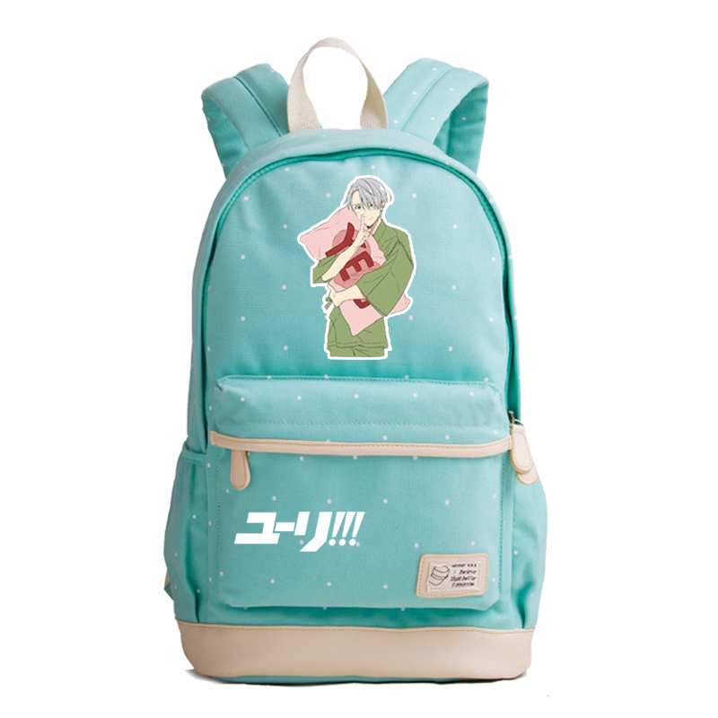 YURI ON ICE Summer Canvas School Bags For Teenage Girls Anime Printing Backpack Victor Nikiforov Women Kawaii Backpack Bookbag