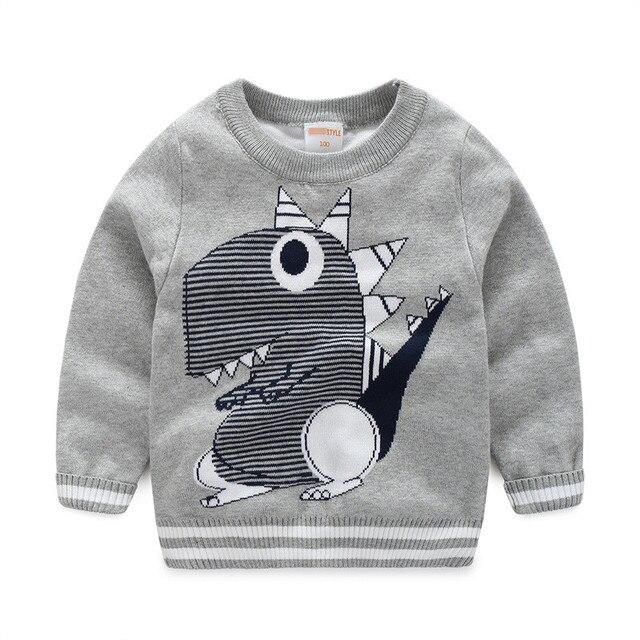 Мальчики кардиган свитер мультфильм динозавра свитера для девочки тянуть enfant пасечник fille хлопок линия вязание малышей мальчики свитер