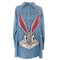 Harajuku Casual Loose Designer Embroidered Beading Diamond Letter Rabbit Denim Blue Jeans Shirt Top Boyfriend Cowboy Lady Blouse