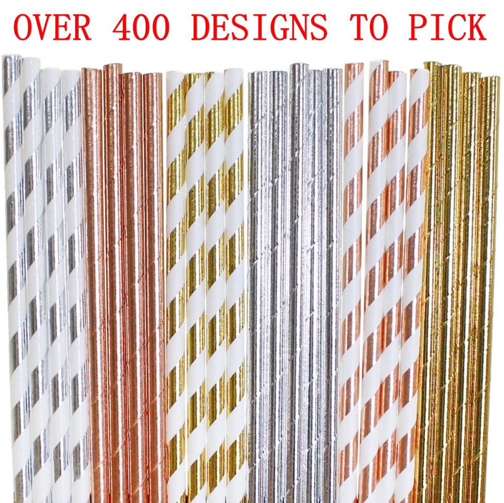 Free DHL Fastest Shipping 1000 pcs Pick Colors Paper Straws Bulk Rose Gold Silver Foil Striped