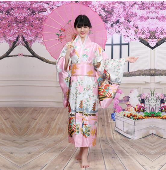 New Arrival  Vintage Japanese Women's Kimono Haori Yukata Silk Satin Dress