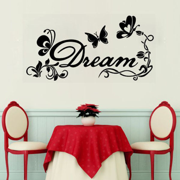 Floral Butterfly Dream Wall Stickers Girls Bedroom Decoration Say Quote Word Lettering Art Vinyl Decal