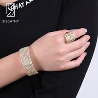 SISCATHY 2019 New Fashion Jewellery Sets for Women Wedding Engagement Bracelet Ring Dubai Jewelry Sets parure bijoux femme