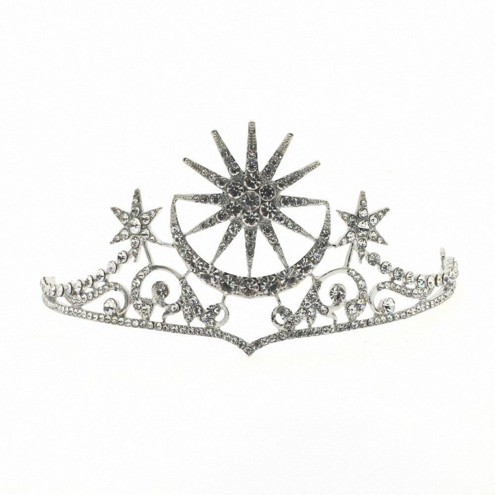 ASNORA Baroque High End Bridal Star Cross Crown Boutique Beadwear Crystal Headwear Flower Bridal Rhinestone Tiaras