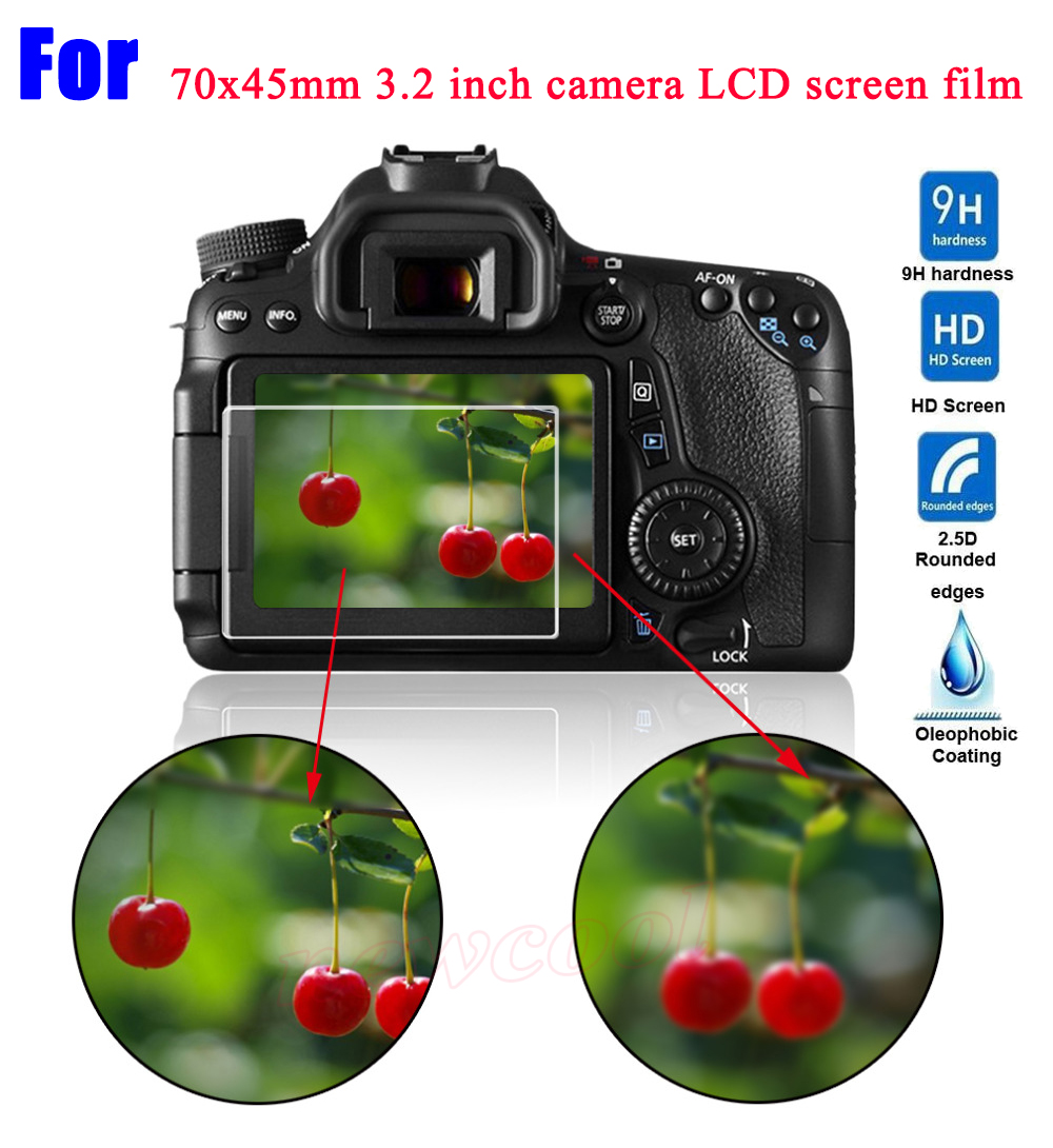2pcs/lot For 70x45mm 70 * 45mm Universal Camera LCD Tempered Glass Screen Protector Guard General 3.2 inch 3.2 Protective Film