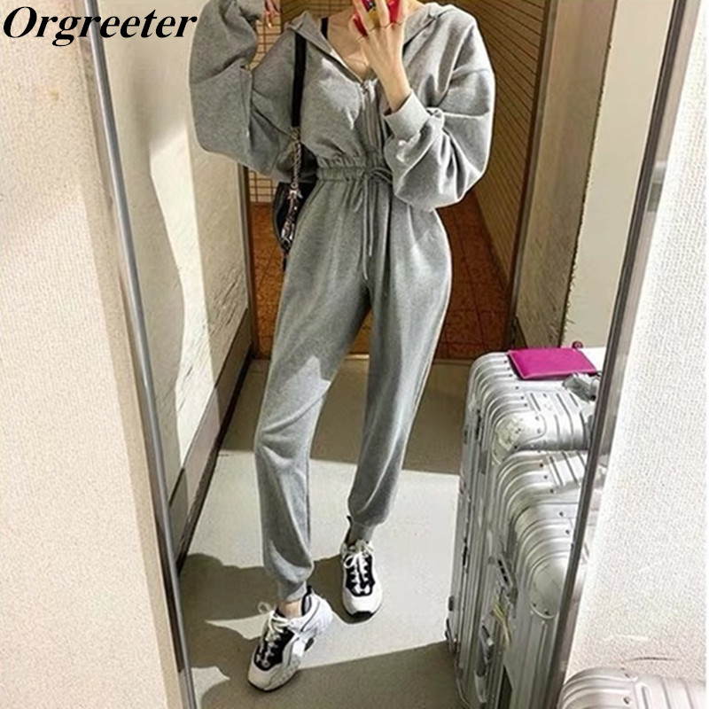 Spring Autumn Gray/Black Women Tracksuit Jumpsuits 2019 Female Romper Hooded Zipper Cotton Sexy Outwear Jogging Outfits Jumpsuit