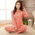 Lily New Autumn Winter 100 % High Quality Beer and Dog Full Cute Pyjamas Pajamas For Women Home Clothes 2 Piece Sleepwear