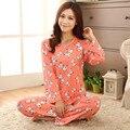 Lily Nuevo Otoño Invierno 100% de Alta Calidad de la Cerveza y el Perro completo Lindos Pijamas ropa de Dormir Pijamas Para Las Mujeres Ropa de Hogar 2 Unidades