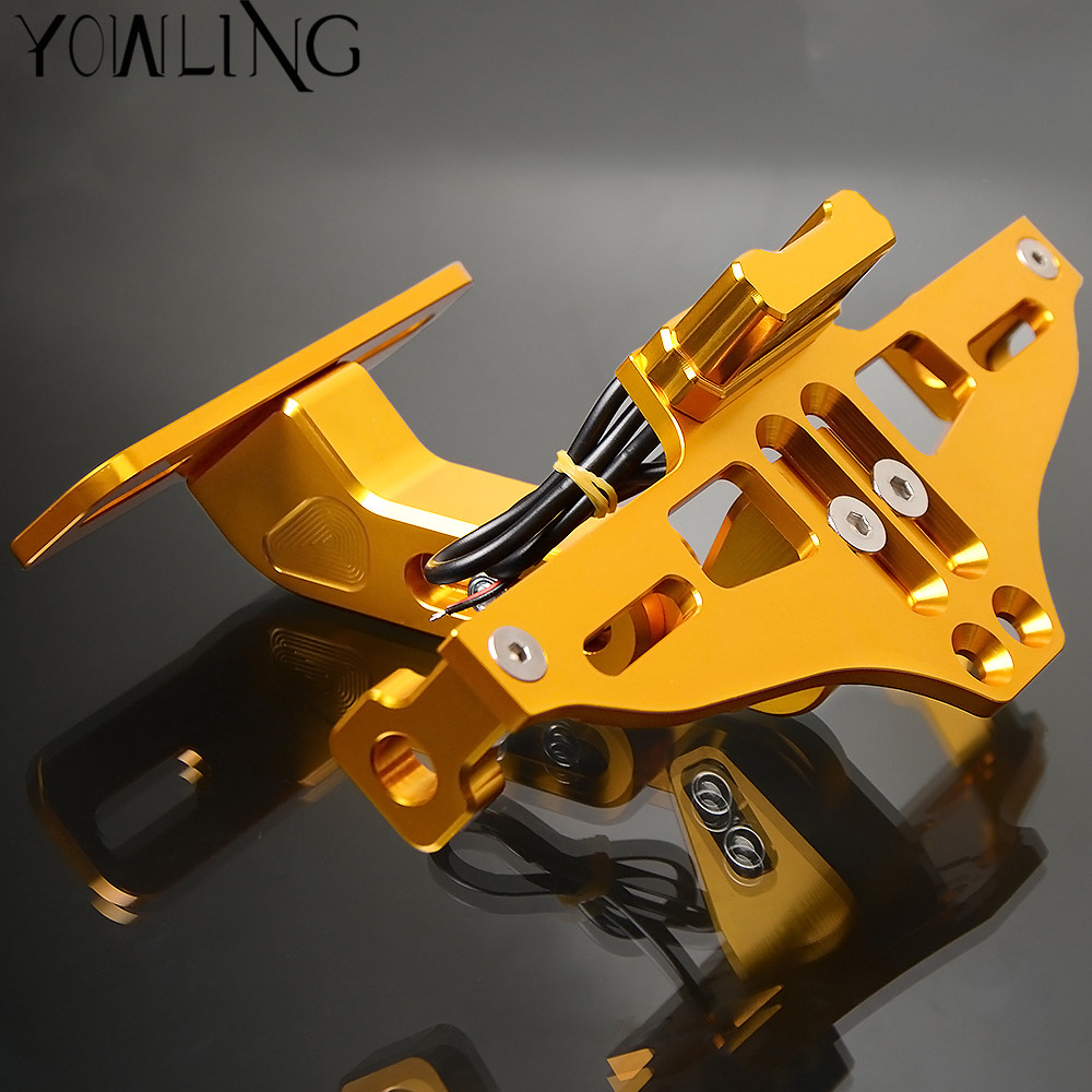 Motorcycle Accessories CNC Rear License Plate Mount Holder with LED Light For Yamaha YZF R1/R125/R15/R1M/R25/R3/R6Motorcycle Accessories CNC Rear License Plate Mount Holder with LED Light For Yamaha YZF R1/R125/R15/R1M/R25/R3/R6