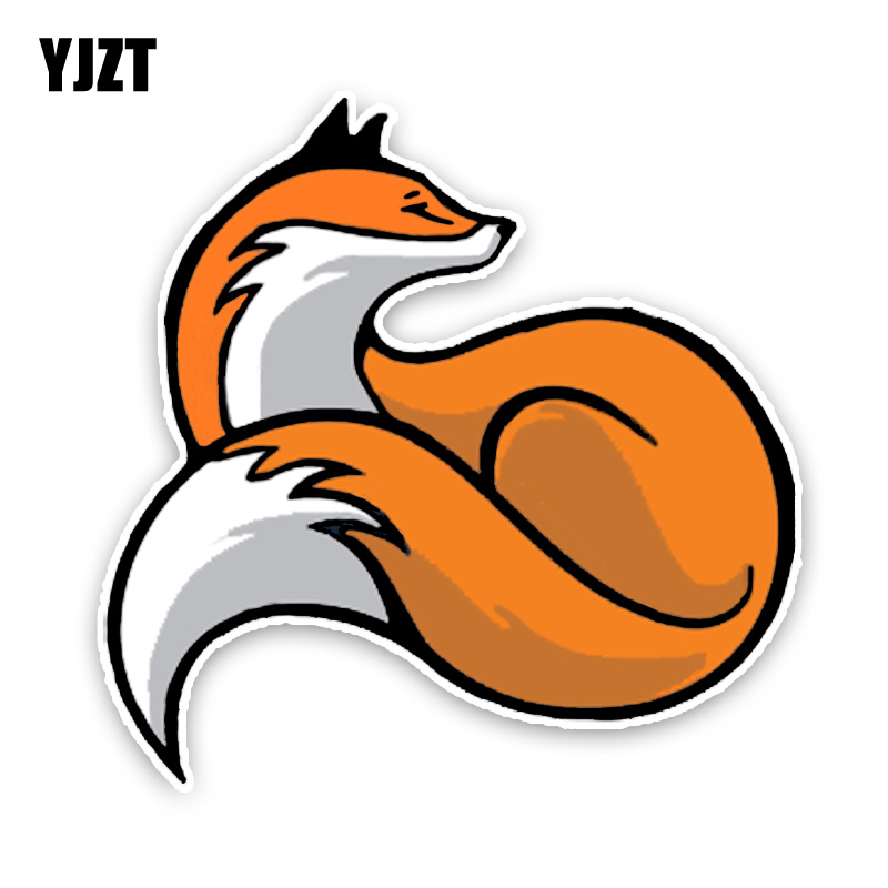 YJZT 14.5*14.5CM Fashion Lovely Red Fox Tail Motorbike Decals Colored Cartoon PVC Car Sticker Decoration Graphic C1-5473