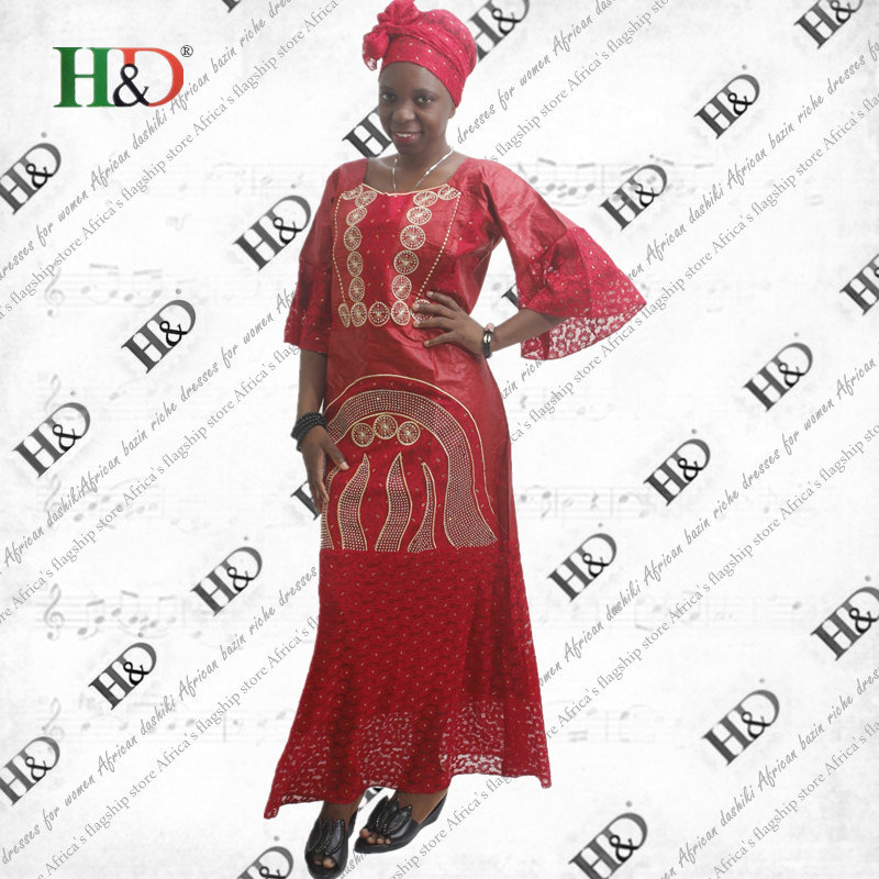 (Free Shipping)2017 New Design Africa Bazin Riche Lace Fabric Traditional Embroidery Craft Dashiki African Dresses For Women