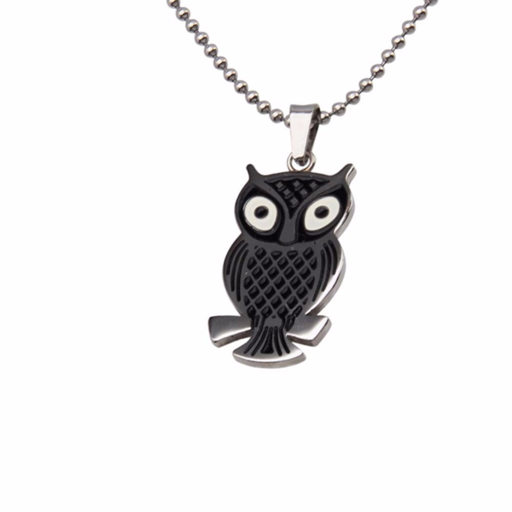 Stainless Steel Owl Pendant Necklace Titanium Animal Jewelry New Punk Cloth Accessories
