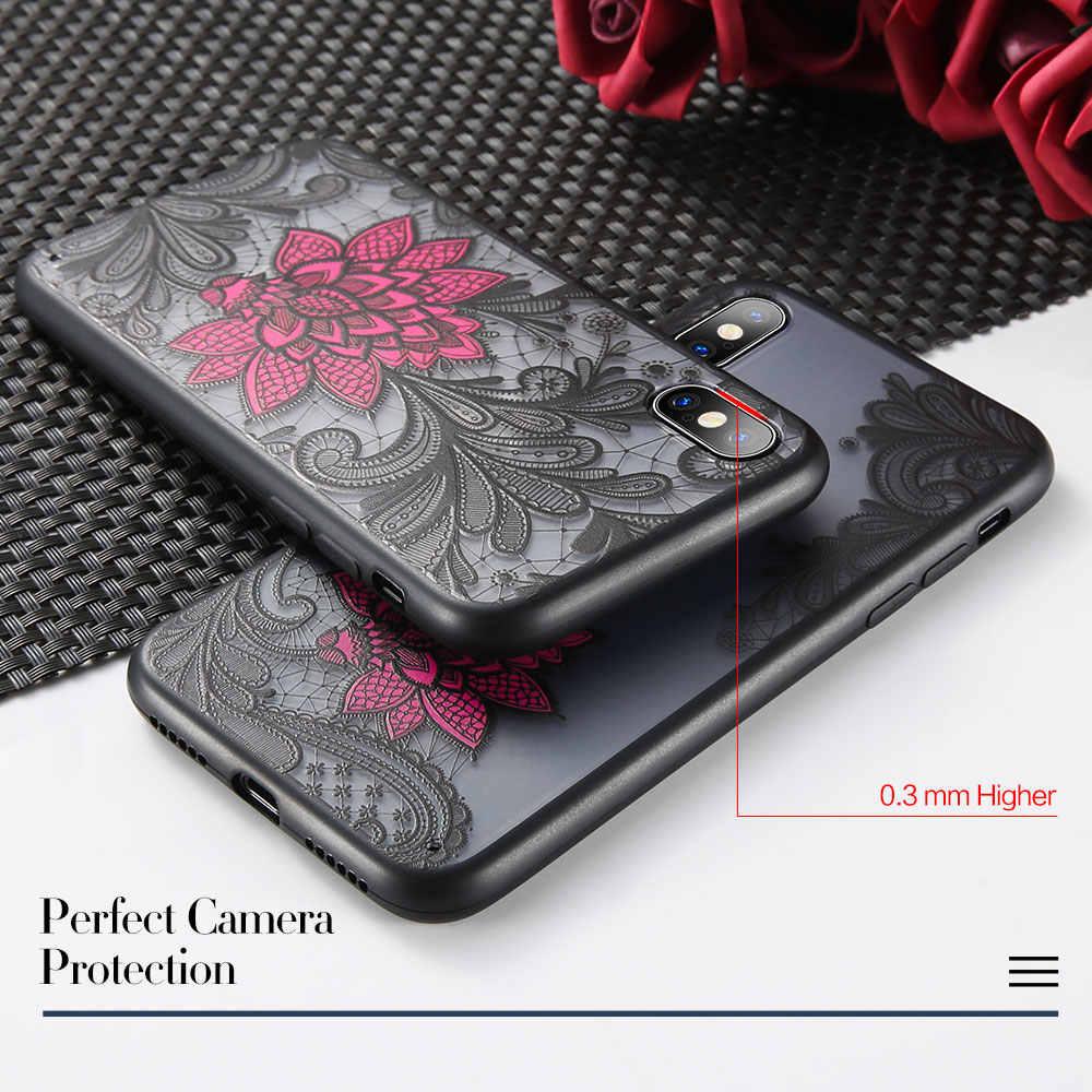 KISSCASE مثير الدانتيل زهرة الهاتف حقيبة لهاتف أي فون XS X XS ماكس XR 7 8 الزهور الصلب خزائن هاتف آيفون 7 8 6 6 s زائد 5 5 s SE فتاة غطاء