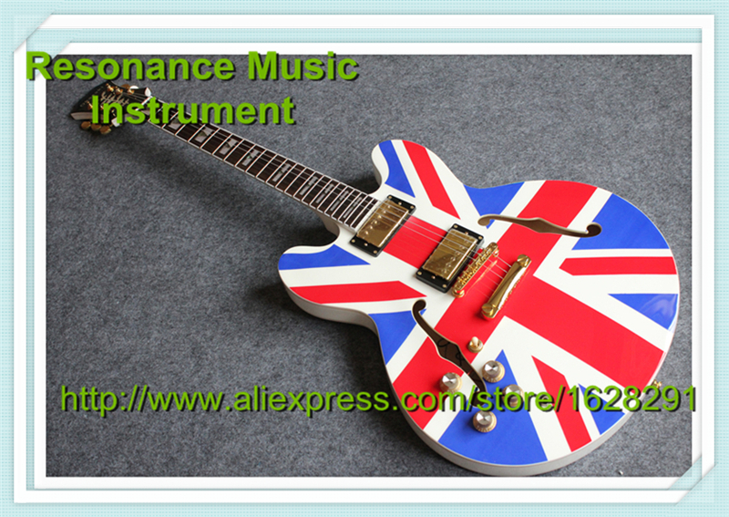 High Quality Union Jack ES 335 Left Handed Guitarra Electrica Hollow Body Jazz Style Guitar China Factory new style high quality hollow body es 335 jazz electric guitar case black leather hard case with white lining free shipping