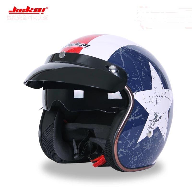 New Dot approved Jiekai vintage motorcycle helmet summer men Scooter Bike helmet retro 3/4 Open face casco Moto capacete